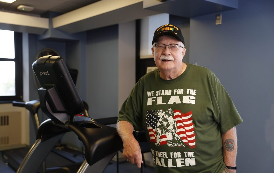 Vietnam War veteran Brian E. Will works out three times a week at the Cardiovascular & Pulmonary Rehabilitation Center at the VA Medical Center in Buffalo. Will was injured in a rocket attack in 1969 in Vietnam.  (Sharon Cantillon/Buffalo News)