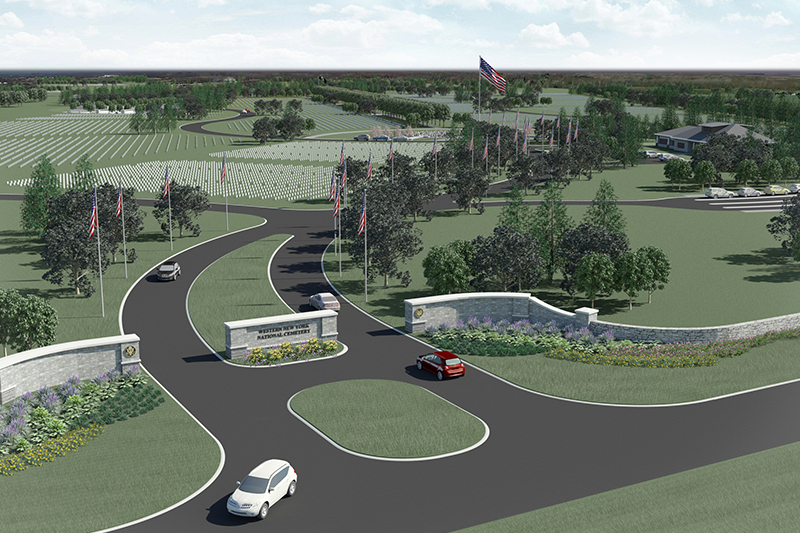 An artist's rendering of the entrance to the new Western New York National Cemetery to be built in Pembroke. (Image courtesy of LA Group landscape architects)