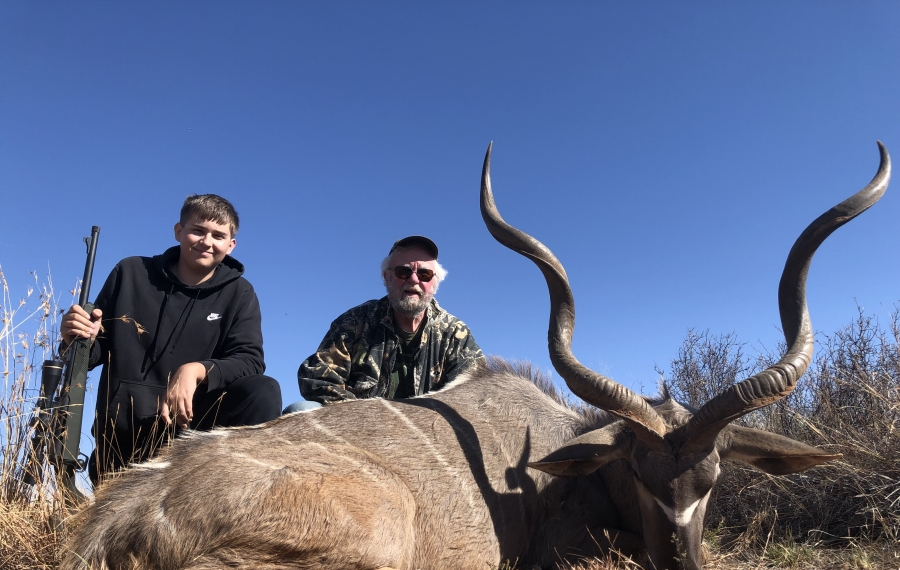 Christian Rose of Lockport with a kudu that he took while hunting in South Africa with his grandfather, Greg Fox of Hamburg. (Photo courtesy Greg Fox)