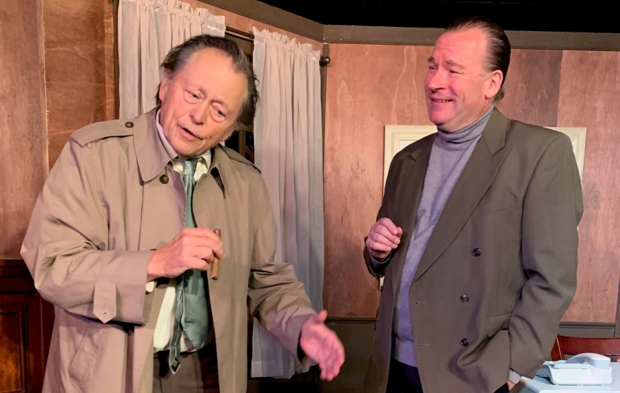 """Jack Hunter captures all the familiar characteristics of Lt. Columbo and Dave Marciniak pours on the charm as possible murder suspect Dr. Flemming in Desiderio Dinner Theatre's production of """"Prescription Murder: Columbo."""""""