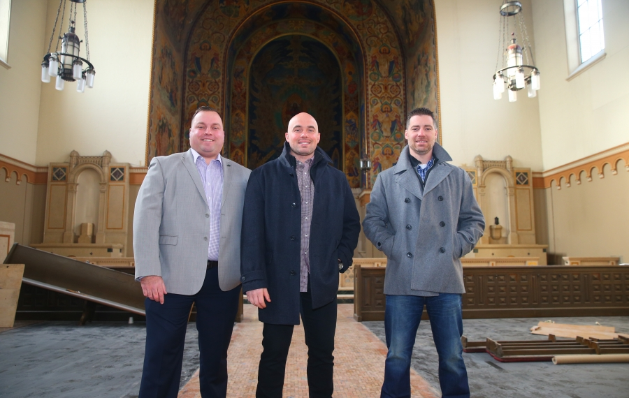Three Buffalo firefighters John Otto, Peter Scarcello, and Gino Gatti banded  together  to form a real estate development company focused on South Buffalo. (John Hickey/Buffalo News)