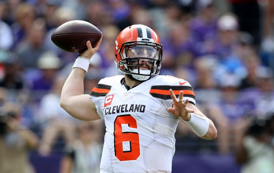 Browns quarterback Baker Mayfield will be challenged by the Bills' defense. (Rob Carr/Getty Images)