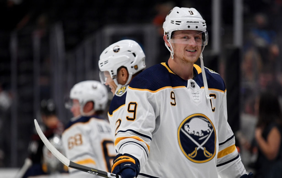 Jack Eichel of the Buffalo Sabres smiles as he warms up before the game against the Anaheim Ducks at Honda Center. (Getty Images)