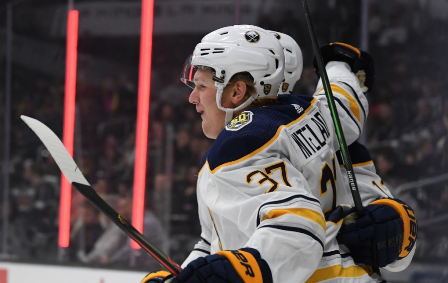 Buffalo Sabres center Casey Mittelstadt celebrates his goal in the first period Thursday night at Staples Center. (Getty Images)