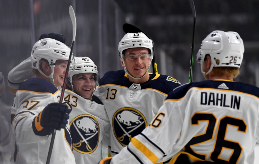 Conor Sheary celebrates with his Buffalo Sabres teammates following his goal Thursday night in Los Angeles. (Getty Images)