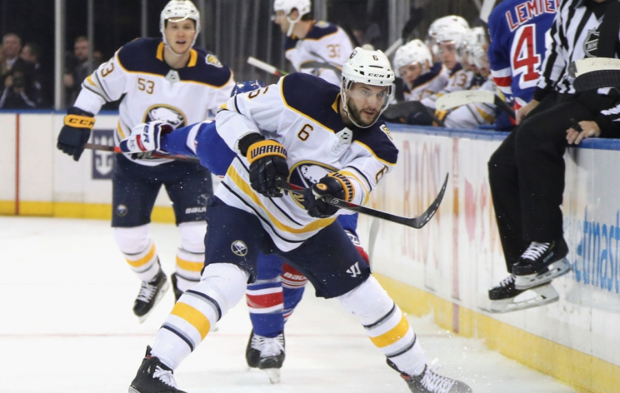 Marco Scandella was injured Thursday night in New York and the status of the Sabres' defenseman is uncertain for tonight's game in Detroit (Getty Images).