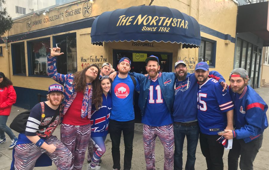 Preston Burnes (11) and a few of his fellow Bills fans gather outside their favorite Bills' bar in northern California. (Photo courtesy of Prestin Burnes)