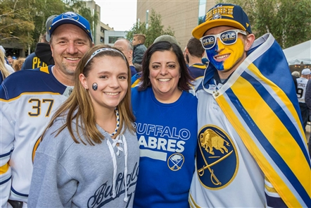 The dawn of a new slate of 41 home games for the Buffalo Sabres began on Saturday, Oct. 5, 2019, with a clash against the New Jersey Devils at KeyBank Center. See the fans who partied with Strictly Hip in Alumni Plaza before the game.