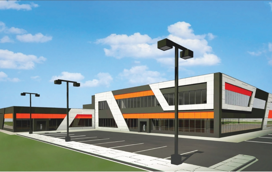 A rendering of the proposed Thinking Robot Studios facility at Buffalo Lakeside Commerce Park in South Buffalo. (Image courtesy of Thinking Robot Studios)