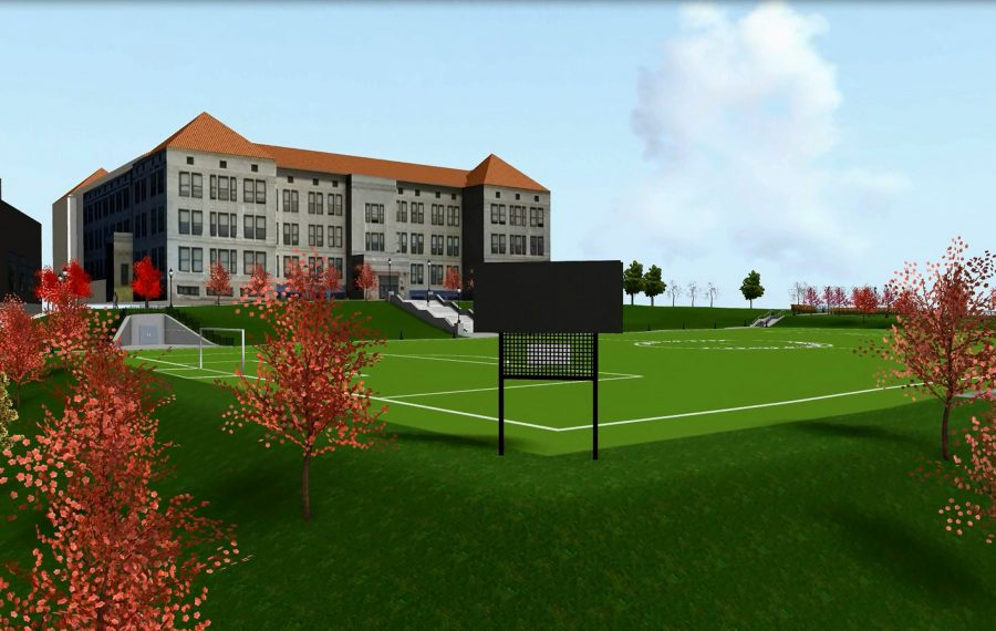 Renderings show a proposed Fosdick Field restoration near City Honors School. The plan is now in jeopardy because of financial challenges. (City Honors/Fosdick-Masten Park Foundation)