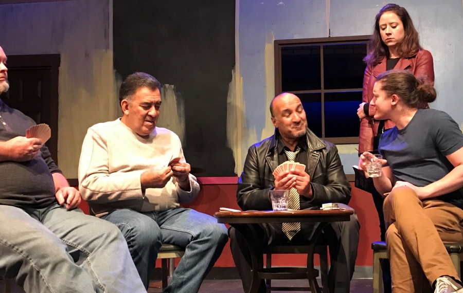 """""""The Kindness of Strangers"""" from Navigation Theatre Company at the Compass Performing Arts Center begins Thursday. From left: John F. Kennedy, Victor Morales, Monish Bhattacharyya, Suzie Hibbard and Timothy Coseglia. (Photo courtesy Navigation Theatre Company)"""