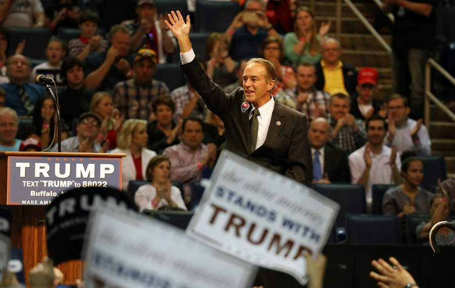 Then-Rep. Chris Collins at Donald Trump's campaign rally in Buffalo in April 18, 2016. (Harry Scull Jr./News file photo)