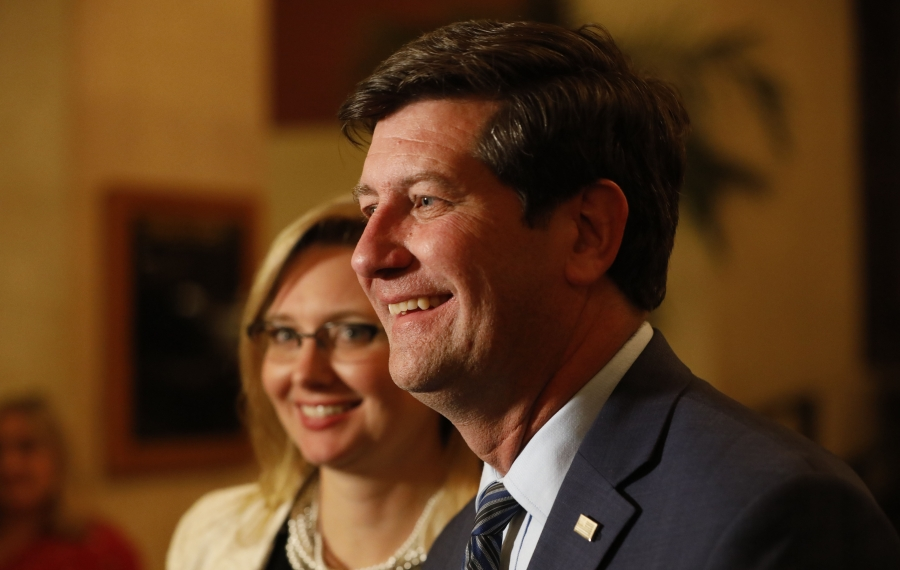 Erie County Executive Mark Poloncarz speaks to the media after his re-election speech during the Democratic Party's election night celebration at Statler City. (Derek Gee/Buffalo News)