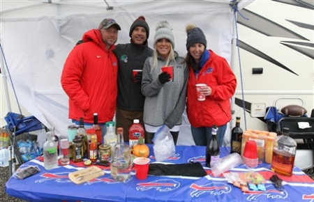 As the Bills players warmed up on the field, fans in the parking lots tried to stay warm prior to the game against the Washington Redskins on Sunday, Nov. 3, 2019.