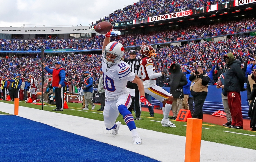 Bills receiver Cole Beasley spikes the ball after catching a touchdown pass against the Washington Redskins. (Harry Scull Jr./Buffalo News)