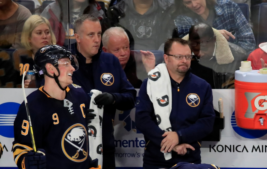 Buffalo Sabres associate equipment manager George Babcock is acknowledged for his 2,000 game during a break against the Calgary Flames at KeyBank Center on Wednesday, Nov. 27, 2019. (Harry Scull Jr./Buffalo News)