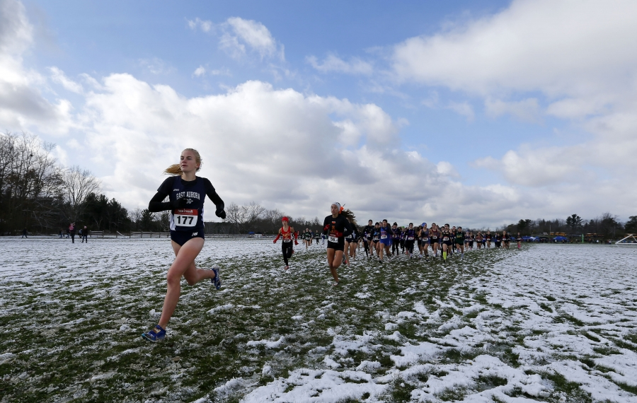 East Aurora's Megan McLaughlin leads the pack to win the Girls Class B race during the Section VI Cross-Country Meet.  (Mark Mulville/Buffalo News)