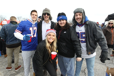 Buffalo Bills fans tailgate before the game against the Cleveland Browns in Cleveland on Sunday, Nov. 10, 2019.