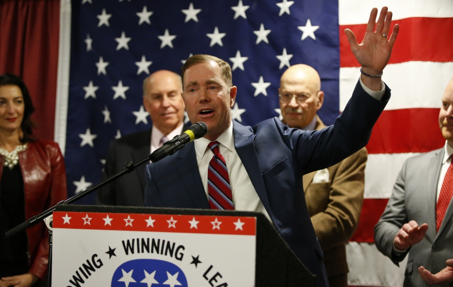 Edward Rath III speaks after being re-elected as a Erie County legislator at the Republican headquarters at the Avant on Tuesday, Nov. 5, 2019. (Harry Scull Jr./Buffalo News)