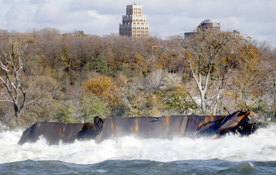 The recently disturbed iron scow that's caught in the rapids near the brink of the Canadian falls was moved by the recent strong winds on Halloween. (Robert Kirkham/Buffalo News)