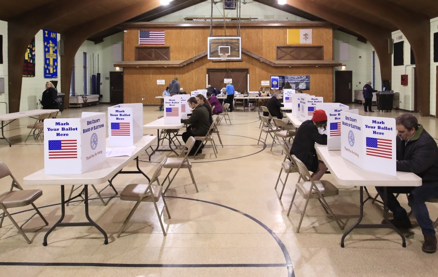 Voters cast their ballots Tuesday in St. Aloysius Parish Hall, Springville. In the Northtowns, one-party rule was solidified following Tuesday's elections. (Harry Scull Jr./News file photo)