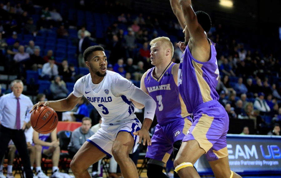UB basketball ends 0-6 Big 4 drought with rout of Nazareth