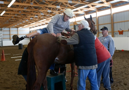 Lothlorien Therapeutic Riding Center in East Aurora made the facility available to amputees from the Amputee Support Group of WNY to do some horseback riding, Saturday, Nov. 16, 2019. Lothlorien provides horseback riding therapy to many veterans and physically challenged people throughout Western New York. The event was funded by a private donor and more of the group members will there next Saturday as well.