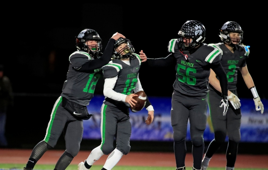 Clymer-Sherman-Panama player Brendon Ramsey celebrates his touchdown with teammates against Tioga during the second half of the NYSPHSAA Class D semifinal last weekend at Cicero-North Syracuse.  (Harry Scull Jr./Buffalo News)