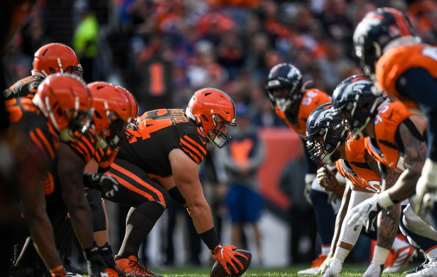 Akron graduate J.C. Tretter has been the anchor for the Browns' offensive line at center. (Dustin Bradford/Getty Images)