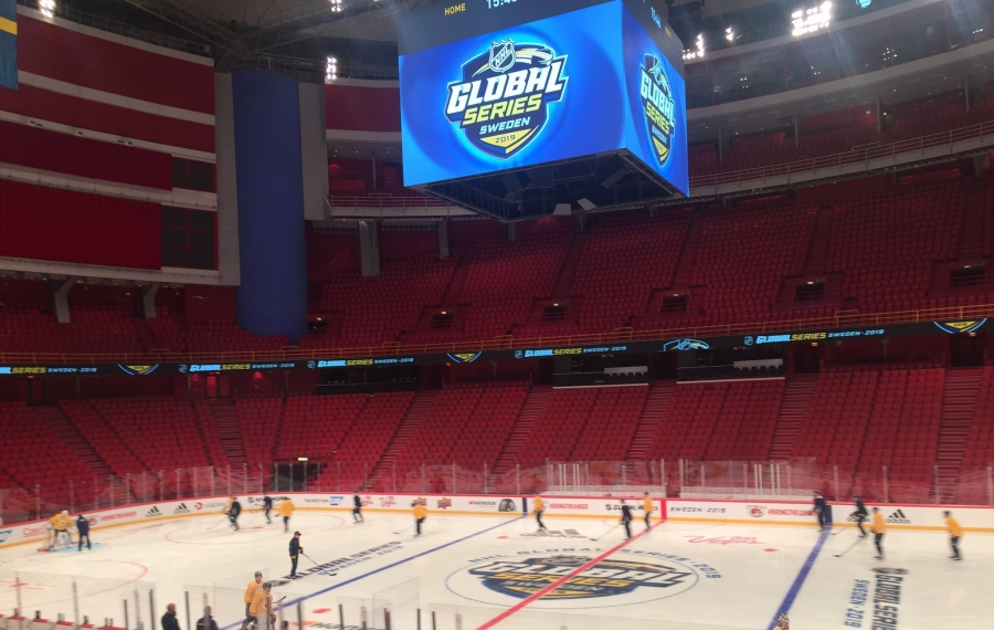 The Sabres hit the ice for practice Monday at Ericsson Globe in Stockholm. (Mike Harrington/Buffalo News)