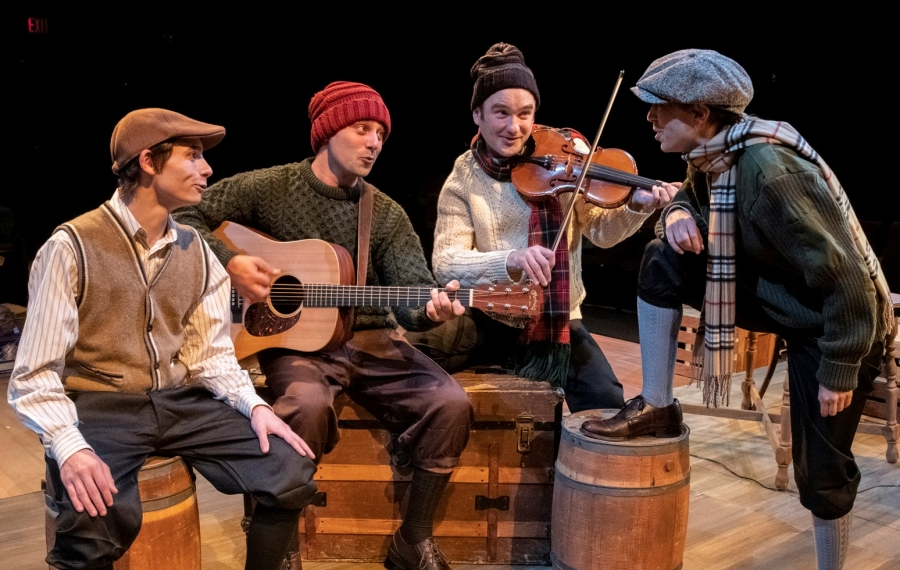 """A Child's Christmas in Wales"" is presented by Irish Classical Theatre Company. Pictured are Tyler Eisenmann as Young Dylan, Brandon Barry, Music Director Joseph Donohue III and Nicole Cimato. (Photo courtesy of Gene Witkowski)"