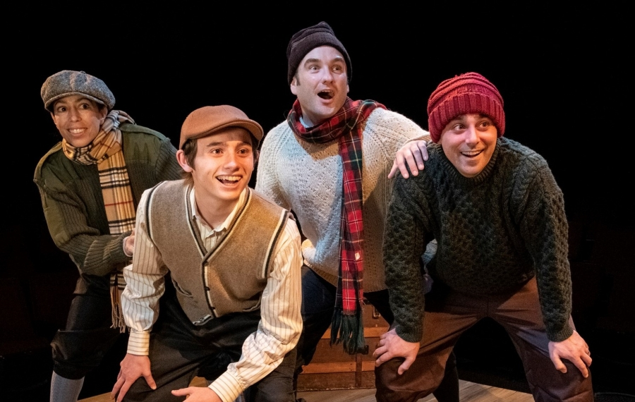 """A Child's Christmas in Wales"" at Irish Classic Theatre Company stars, from left, Nicole Cimato as Jack, Tyler Eisenmann as young Dylan Thomas, Joseph Donohue III as Jim and Brandon Barry as Tom. (Photo by Gene Witkowski)"