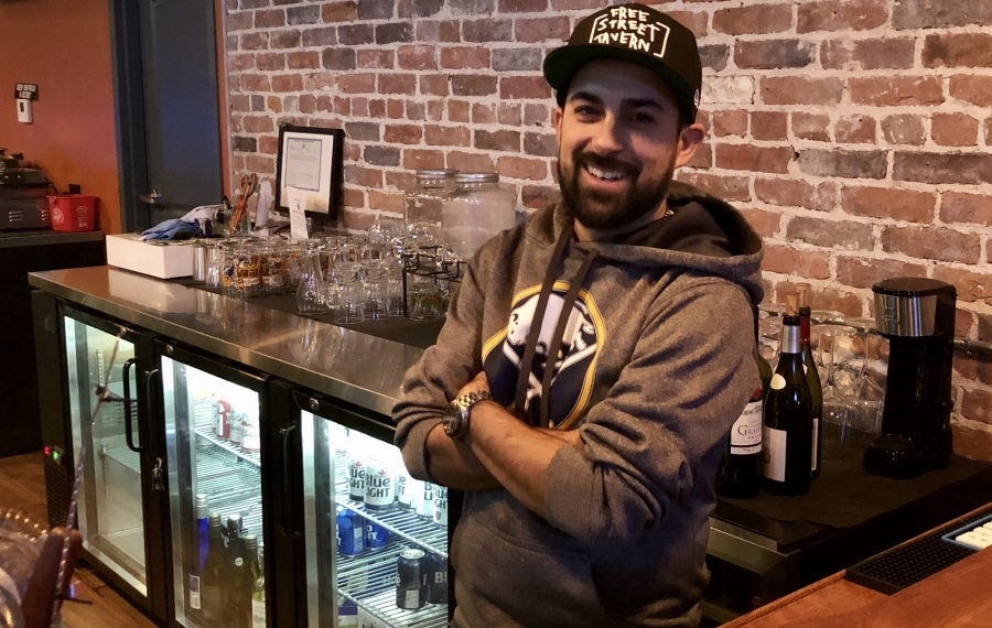 Joshua White is the owner of Free Street Tavern, a new bar on Niagara Street. (Ben Tsujimoto/Buffalo News)
