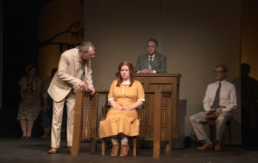 "Christopher Avery, left, Robyn Baun, Peter Palmisano and John Profeta in ""To Kill a Mockingbird"" at the Kavinoky Theatre. (Photo by Gene Witkowski)"