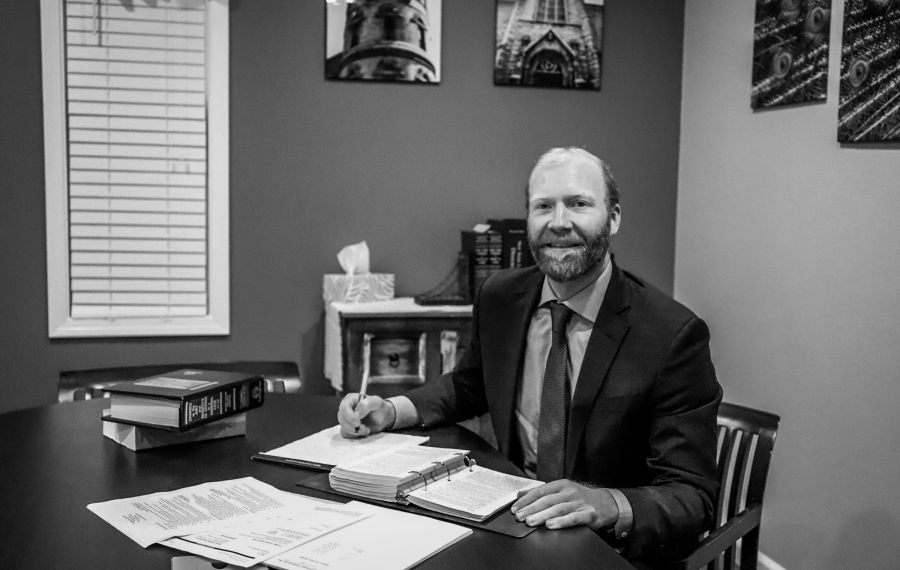Michael E. Benedict, candidate for Niagara County judge in 2020, at his desk. (Contributed photo)