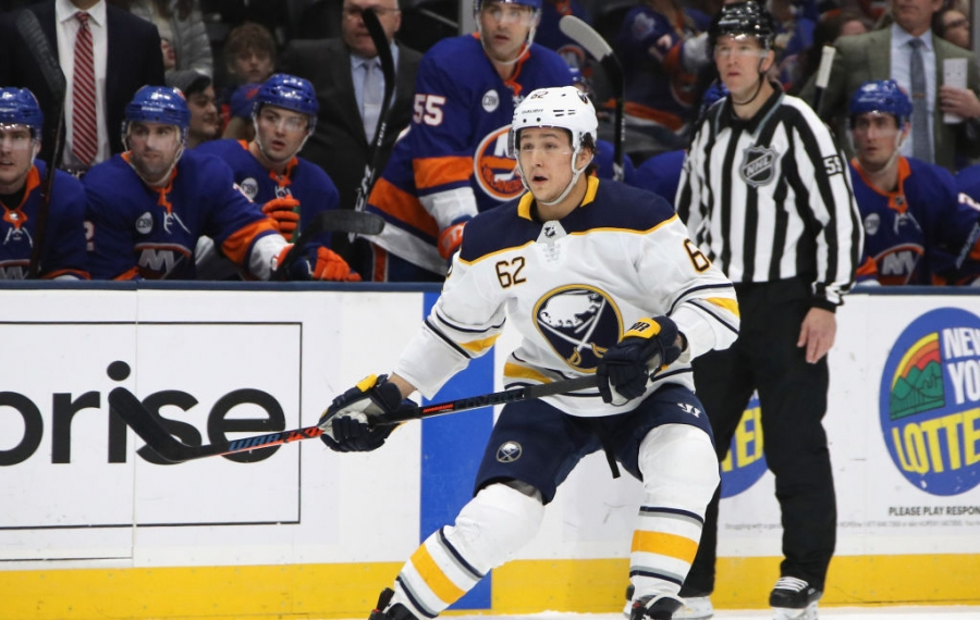 Brandon Montour, shown skating for the Sabres in a March game at Nassau Coliseum, will make his season debut tonight. (Getty Images)