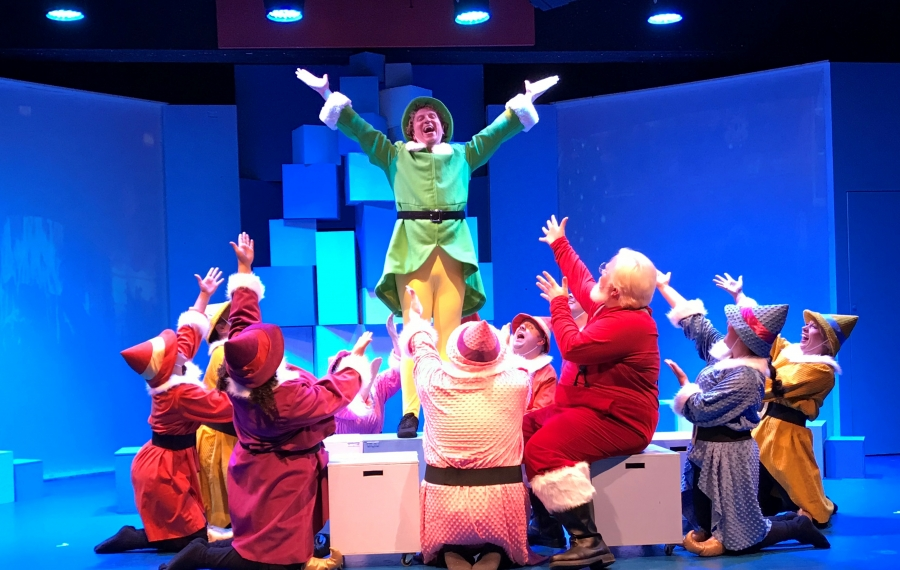 """Chris J. Handley, center, is spectacular as Buddy in MusicalFare's fun production of """"Elf."""" (Photo courtesy of Doug Weyand)"""