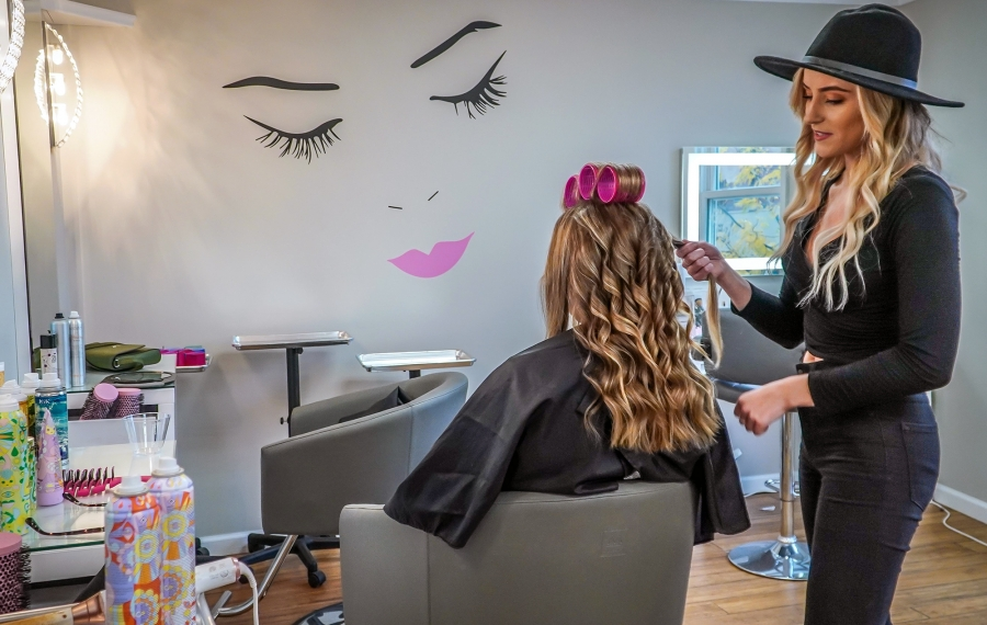 At Primp Blow Dry Bar in Hamburg, you can keep it basic with a dry style or amp any blowout with hot tools, braids or clip-in extensions. (Alicia Wittman)