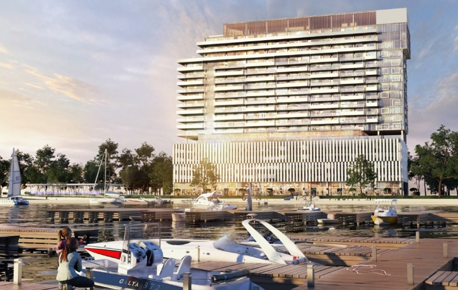 A rendering of the revised Queen City Landing project, looking north from the marina. (Image courtesy of Queen City Landing)