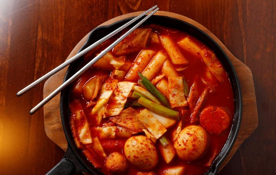 Ddukbokki, rice cakes, eggs, fish cake, and beef in chile sauce, at Woori Mart. (Sharon Cantillon/Buffalo News)
