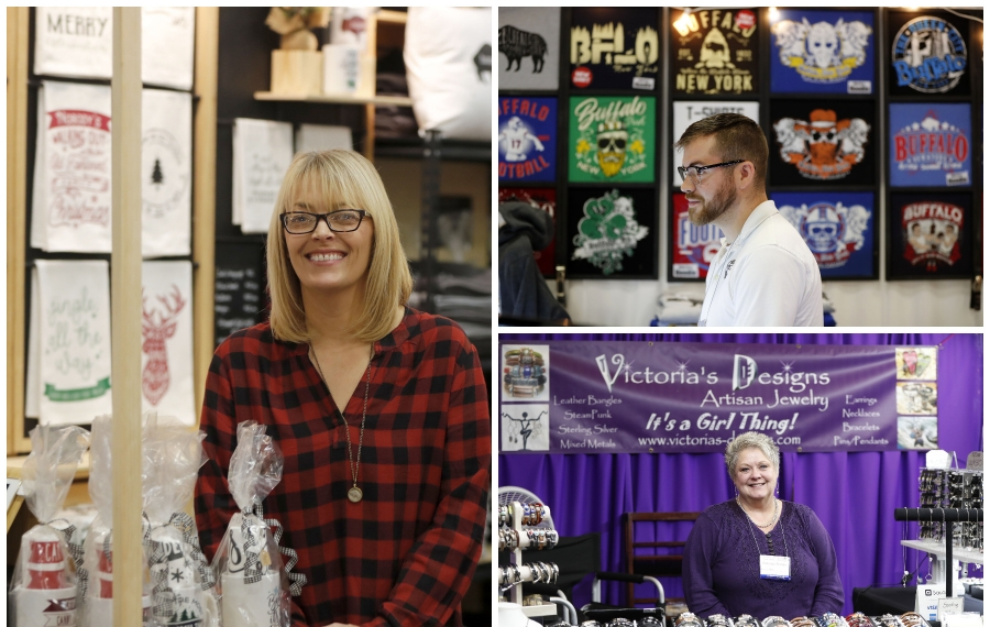 Local artisans craft unique gifts that you can find at shopping holiday markets. At left, Erin Patterson and Kitch will be at Yuletide in the Country (Dec. 7-8 at Hamburg Fairgrounds), Adam Kern and My Buffalo Shirts will be at multiple shows including St. Gregory the Great and Yuletide in the Country; and Vickie LaRocque will at St. Gregory the Great Craft Show (Nov. 29-30) and Brickyard Brewing Co. in Lewiston (Dec. 5). (Mark Mulville/Buffalo News)