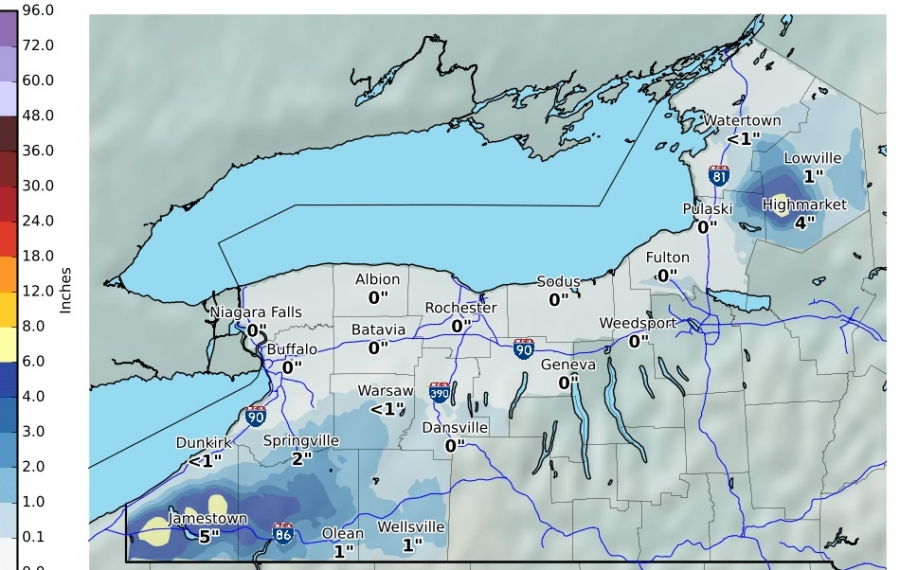 National Weather Service in Buffalo released this map of expected snowfall for the period from 8 p.m. Saturday through 7 p.m. Sunday. (Image courtesy of the National Weather Service)