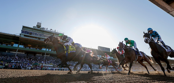 Storm the Court, ridden by Flavien Prat, wins the TVG Breeders' Cup Juvenile on Breeders' Cup Championship Friday at Santa Anita Park.  Credit: Alex Evers/Eclipse Sportswire/Breeders' Cup/CSM
