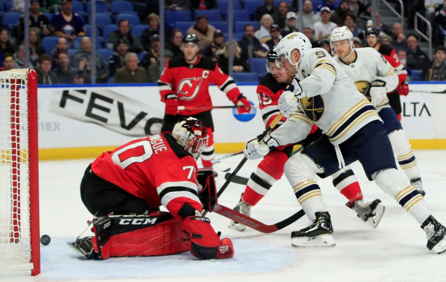 Buffalo Sabres center Jack Eichel scores against the New Jersey Devils during the first period at KeyBank center on Monday, Dec. 2, 2019. (Harry Scull Jr./Buffalo News)