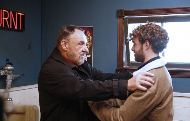 "Actors John Rhys-Davies, left, and Shane Nepveu rehearse a scene during the shooting of the movie ""Prick'd"" at NDStudios in Buffalo. (Robert Kirkham/Buffalo News)"