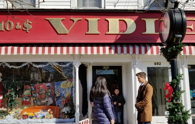 """The old-fashioned charm of Vidler's in East Aurora has made it a popular location for holiday films directed by Fred Olen Ray. This is a scene from """"A Christmas Princess."""""""