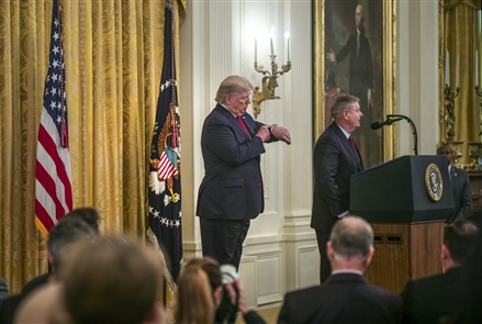 Below the surface, behind the curtains, in the congressional hallways and at the White House. Here is where the message is honed and the players rehearsed. While this is the reality of politics, much of it seems unreal. Here is where Stephen Crowley works to strip away the face paint to bring to light the show behind the drama of impeachment. Crowley, a freelance photographer in Washington, D.C., who specializes in working behind the scenes of the political theater, shares a rare glimpse into this world with The Buffalo News.