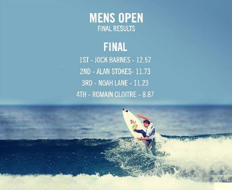 Boardmasters Fesitval 2015 2014 Surf Competition Mens Open Jock Barnes Alan Stokes Noah Lane Romain Cloitre Winners Finalists