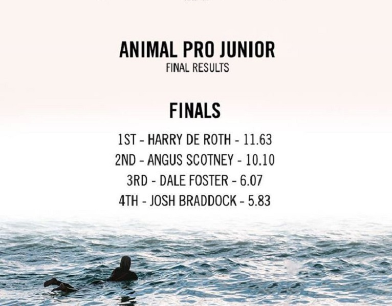 Boardmasters Festival 2015 2014 Animal Pro Junior Final Results Finalists Harry De Roth Angus Scotney Dale Foster Josh Braddock