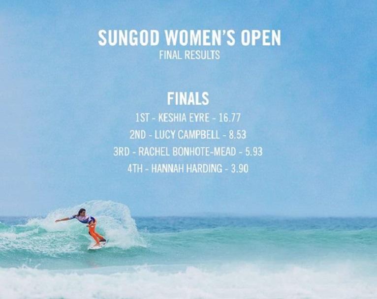 Boardmasters Festival 2015 2014 Womens Open Sungod Finalists Results Keshia Eyre Lucy Campbell Rachel Bonhote-Mead Hannah Harding Surf Surfing